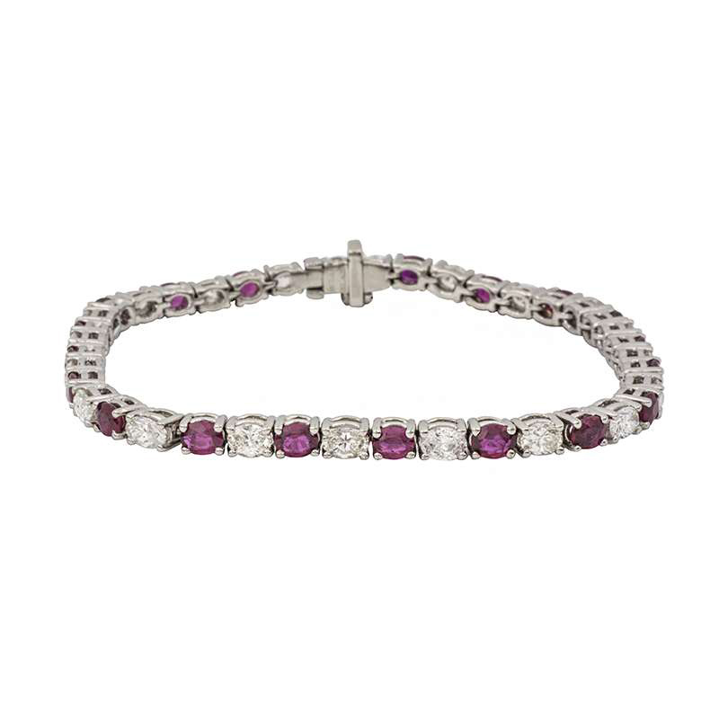 18k White Gold Ruby and Diamond Line Bracelet